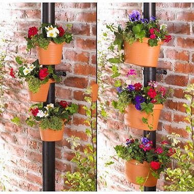Superb 3 Pc/Lot Unique Gutter Downspout Garden Flower Pot DRAIN PIPE FLOWER PLANT  POTS Tubs
