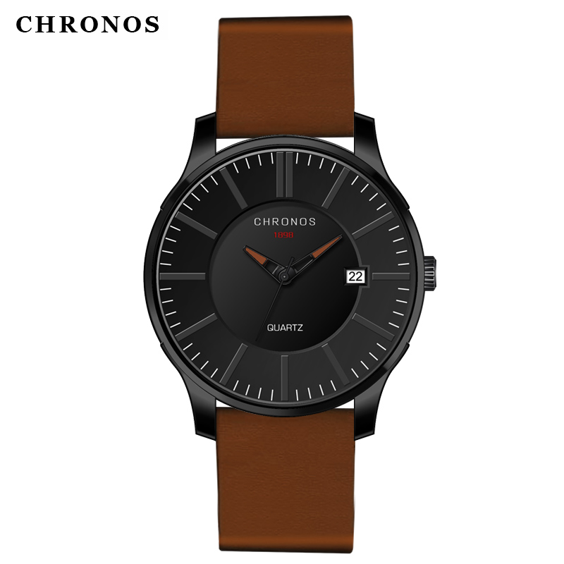 Luxury Casual Quartz Sports Wristwathes CHRONOS 1898 Fashion Genuine Leather Strap Waterproof Clock Watch Relogio Masculino