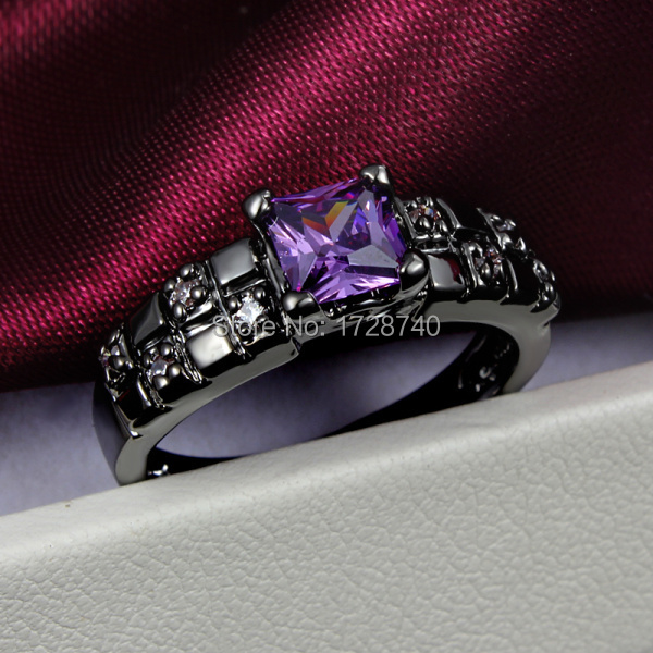 sz 6 8 black gold filled princess cut purple cz women wedding ring free shipping - Purple Wedding Rings