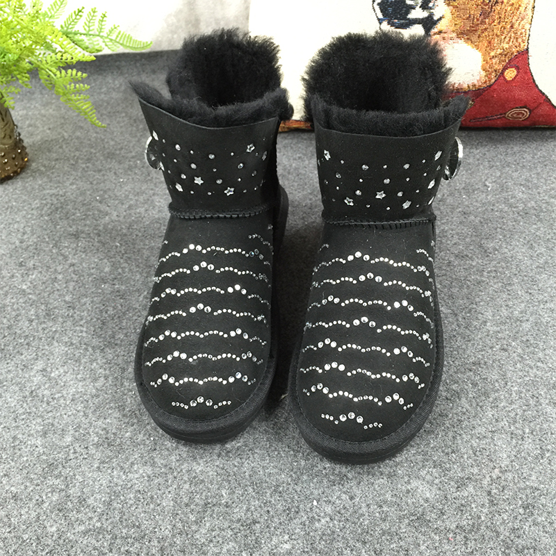 GXLLD Hot Sale Shoes Women Boots Solid Slip-On Soft Cute Women Snow Boots Round Toe Flat with Winter Fur Diamond Boots 2017 new arrival hot sale women boots solid bowtie slip on soft cute women snow boots round toe flat with winter shoes wsz31
