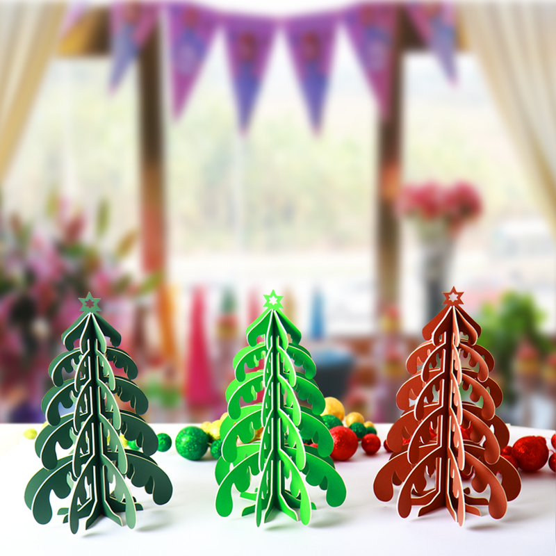 aliexpresscom buy artificial new year gifts diy 3d handmade paper christmas tree placed in the desktop home decor christmas decoration kids gifts from - Handmade Paper Christmas Decorations