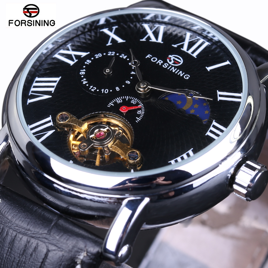 forsining Brand Luxury Automatic Mechanical Watches Leather Tourbillon White Black Men WristWatch Gift Box Relogio Releges