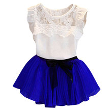 Children Clothing 2018 New Baby Girls Clothes Suit Summer Bud Silk Fly Sleeve T-shirt+Chiffon Bowknot Tutu Dress For Girls Sets(China)