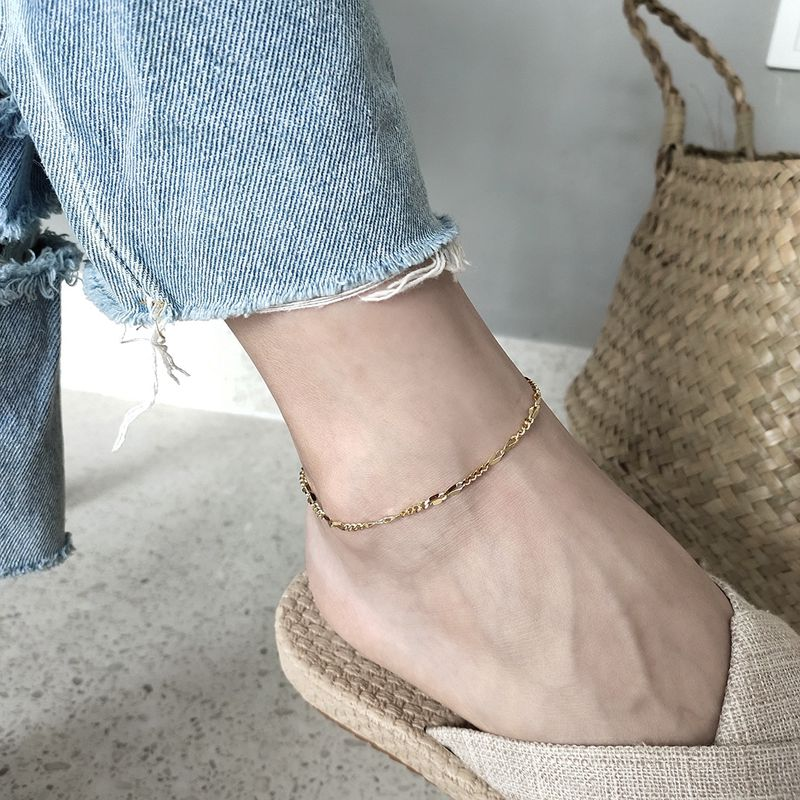 Silvology 925 Sterling Silver Asymmetry Chain Anklets Gold Texture 2019 Summer Fashionable Anklets for Women 925 Foot Jewelry