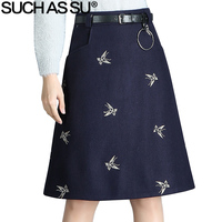 SUCH AS SU New Fashion 2017 Autumn Winter Wool Skirts Womens Black Dark Blue Butterfly Embroidery
