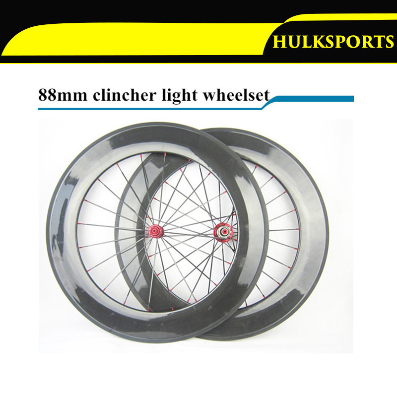 1 Pair 700c 3K UD Surface Carbon Wheelset Light Chinese Carbon Wheels 88mm Carbon Clincher Road Bike Wheels Powerway R51 Hub