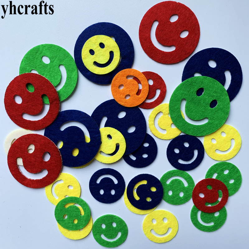 1bag(30-50PCS) Smile Felt Stickers Fabric Crafts Early Learning Educational Toys School DIY Lessons Kindergarten Crafts Gifts