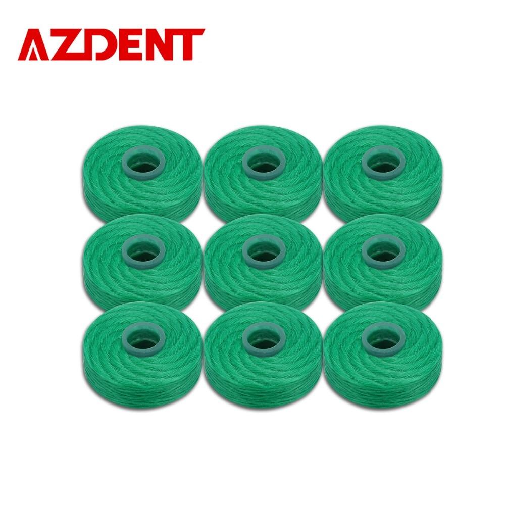 AZDENT 9Pcs/Pack 50M Wax Nylon Dental Flosser Mint Flavor Dental Floss Built-In Spool Flat Wire Replacement Core Toothpick