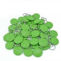 الأخضر 100 قطع 125 كيلو هرتز rfid القرب بطاقة الهوية رمز مفتاح الكلمات keyfobs لباب نظام مراقبة الدخول
