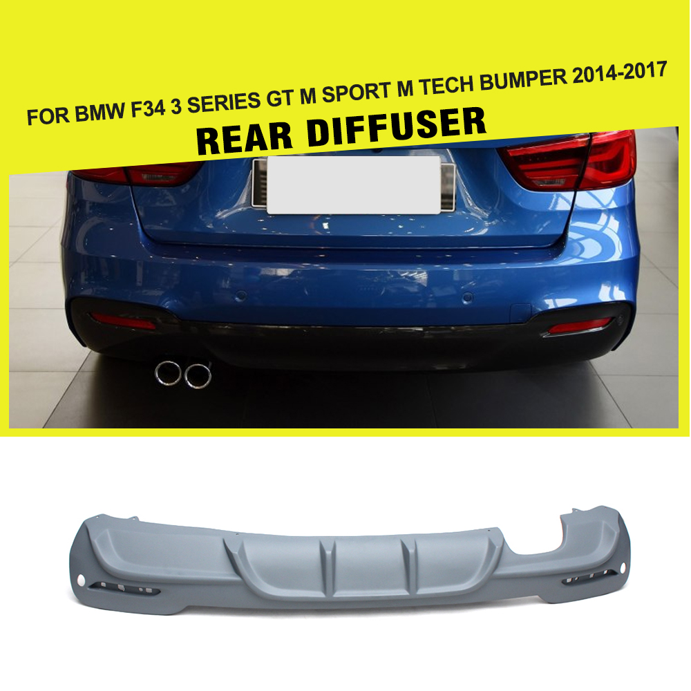 Car Styling FRP Auto Car Rear lip Diffuser Spoiler for BMW 3 Series F34 GT M Sport M Tech Bumper 2013UP