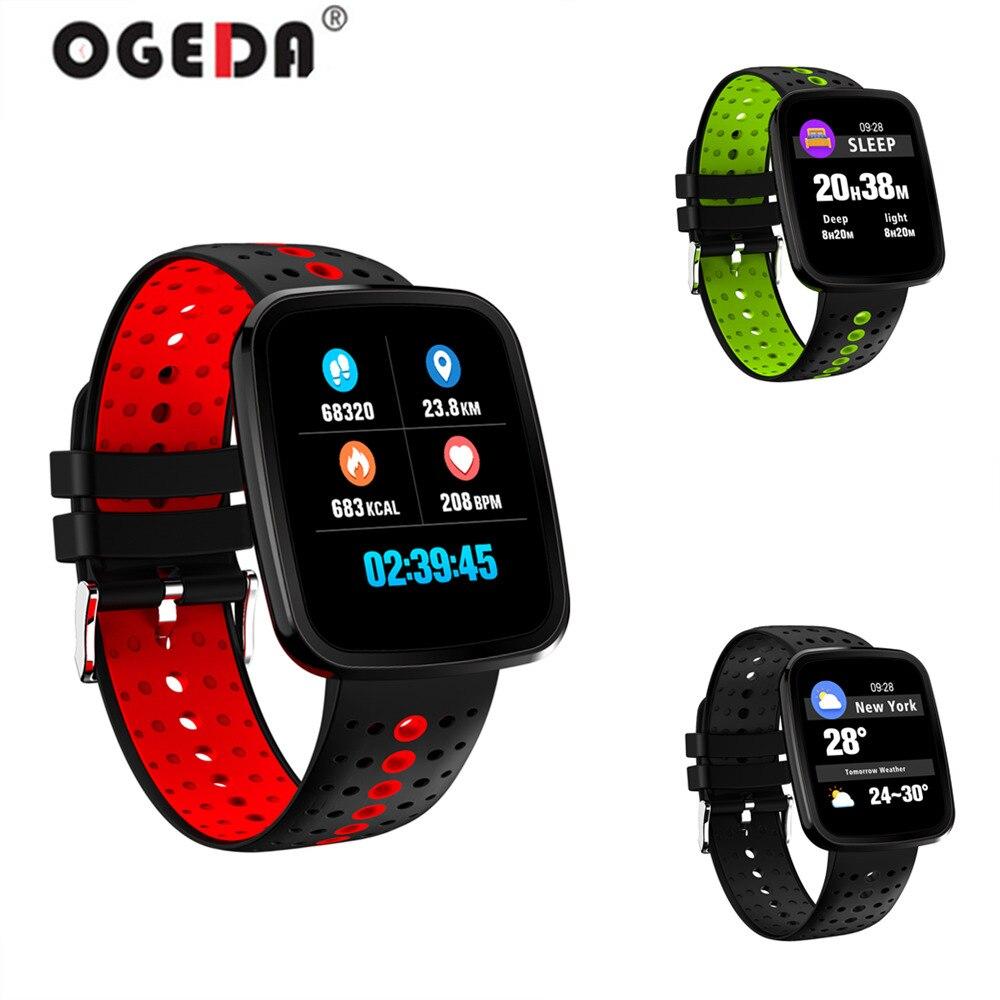 OGEDA mode hommes Intelligent moniteur de fréquence cardiaque couleur OLED Sport montre intelligente Intelligent Fitness Tracker Bracelet Intelligent
