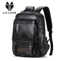 LIELANG Backpack Leather Men Laptop Travel Backpack 15inch Waterproof Laptop Backpack USB College Bookbag Men mochila hombre