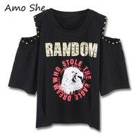 Amo She Letter Animal Print Rivet T Shirt Mid Off Shoulder Round Neck Basic Tops Tees