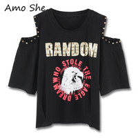 Amo She Letter Animal Print Rivet T Shirt Mid Off Shoulder Round Neck Basic Tops Tees
