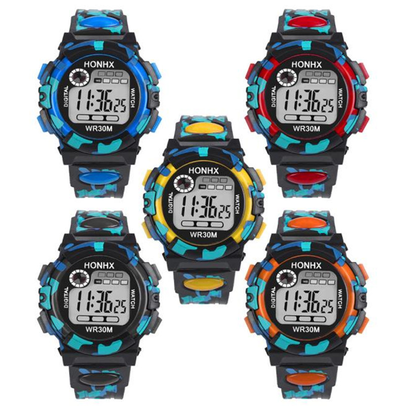 Kids Watch Multifunction Water Resistant Sports Electronic Digital Movement Wrist Watches in Black Blue Orange Red Yellow все цены