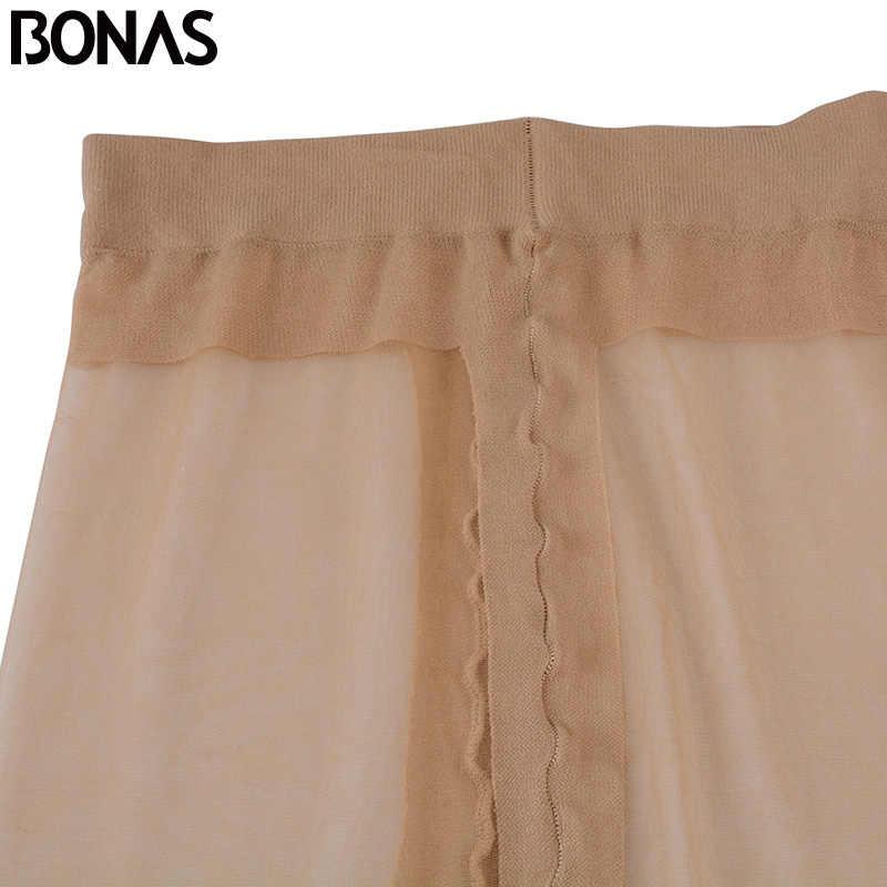 Bonas 15Dタイツ女性ナイロンt股セクシーな薄型ストッキング無地スリムcollantファムtaytスパンデックスポリエステルタイト