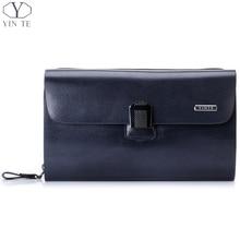 YINTE Fashion Men's Clutch Wallets Leather Purse England Style Blue Clutch Passport Wallet Card Holder Men's Wrist Bags T8006-3