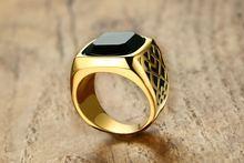 Мужское кольцо золотого цвета из нержавеющей стали модное Брендовое
