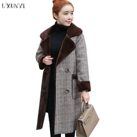 LXUNYI 2019 Autumn Long Wool Coat England Double Breasted Polto Female Jacket Feminine Coat Thicken Coats Winter Ladies Outwear
