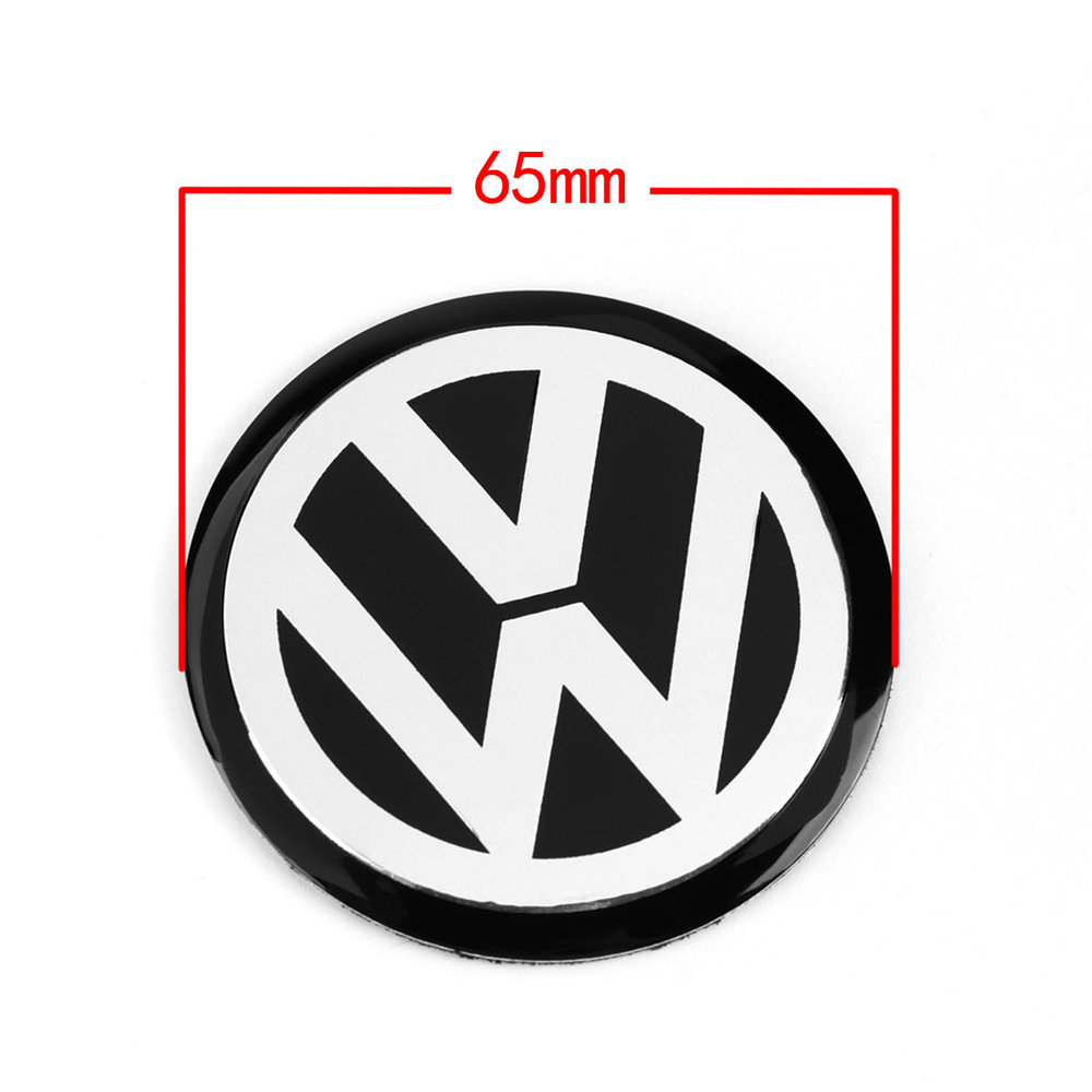 4pcs 65MM 6.5cm Black Car Wheel Center Hub Cap Badge Emblem VW Logo Decal Wheel Sticker Styling For VW|Car Stickers| |  - title=