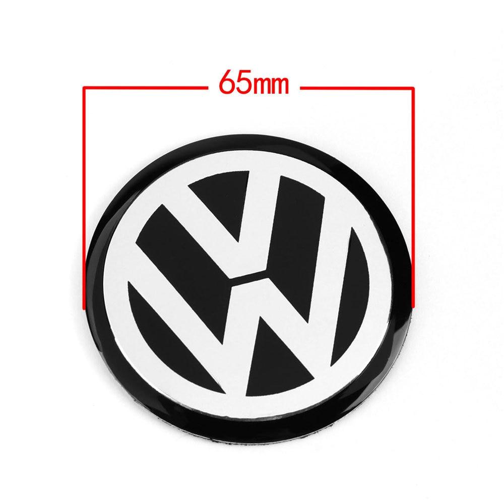 4pcs 65MM 6.5cm Black Car Wheel Center Hub Cap Badge Emblem VW Logo Decal Wheel Sticker Styling For VW