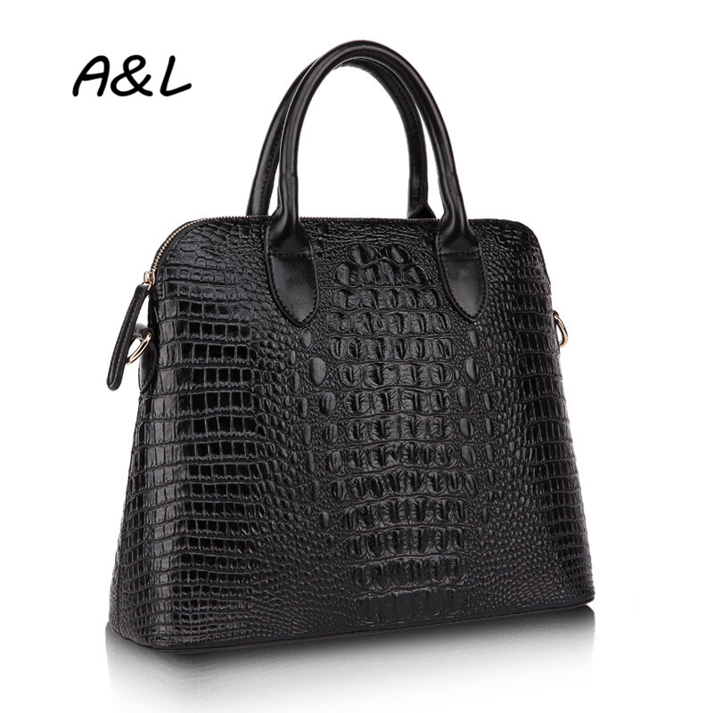 100% Genuine Leather Bag Women Luxury Designer Handbag Famous Brand Tote Fashion Crocodile Pattern Shoulder Messenger Bag A0040 fashion casual michael handbag luxury louis women messenger bag famous brand designer leather crossbody classic bolsas femininas