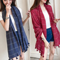 New Sale Autumn Winter Warm Scarf Women tassel Plaid Scarves Tippet Wrap Brand Ladies Classic solid color print Shawl large size