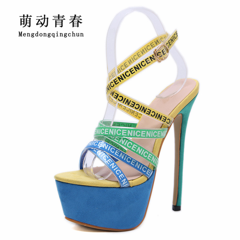 Size 35-40 New 2019 Women <font><b>High</b></font> <font><b>Heels</b></font> Sandals Fashion Narrow Band Platform Pumps Colorful Crosstied <font><b>17cm</b></font> <font><b>Heels</b></font> <font><b>Sexy</b></font> Party Pumps image