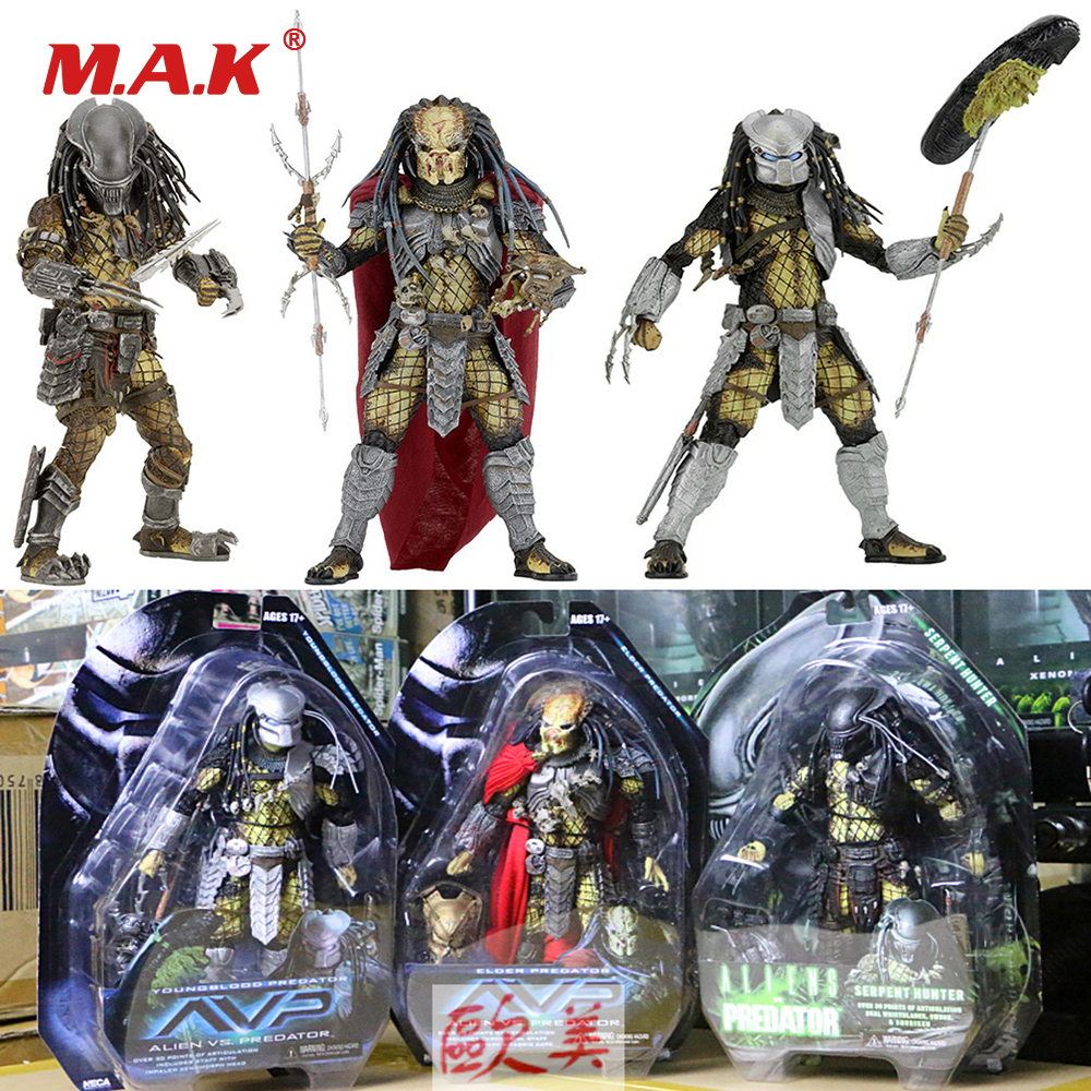 NECA Model Toy 7 18CM Elder/Serpent Hunter/Youngblood Predator Alien VS Predator PVC Action Figure AVP Figurine For Collection 6pcs set alien vs predator mini classic predator pvc brinquedos collection figures toys with retail box anno00395a