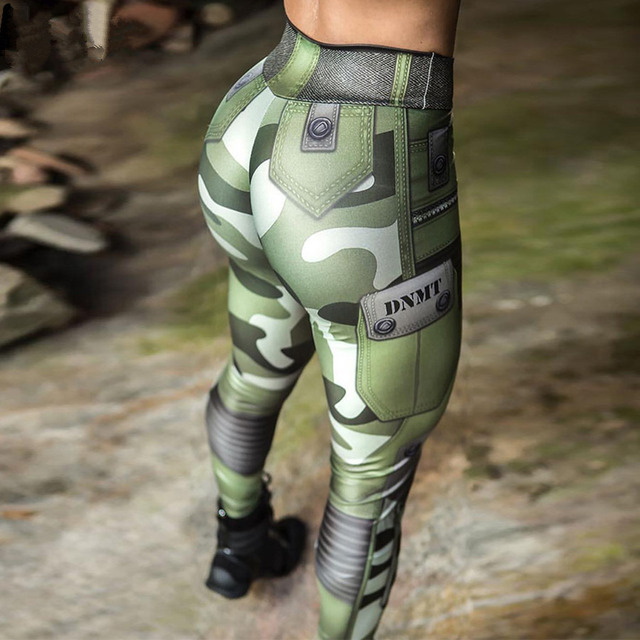 8809284ef55ea Women Muscle Leggings Army Green Camouflage Printed Sporting Leggings  Female Push Up Jeggings Femme Workout Pants
