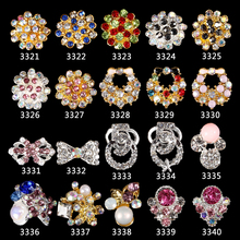 wholesale 100pcs NEW Flowers Rhinestones 3D Gold Silver Glitter Chain Ring Alloy Jewelry Nail Art Tips Decoration 3321-3340