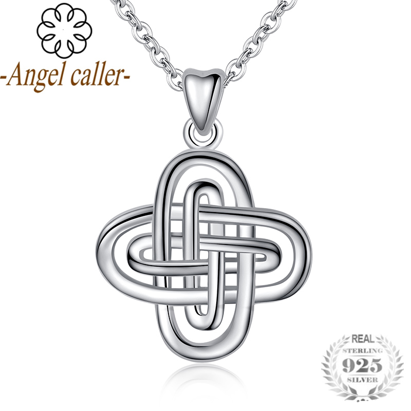 Angel Caller Real 925 Sterling Silver Female Solomons Knot Pendant Necklaces High Quality Choker for Women Man Boy Gril Gifts