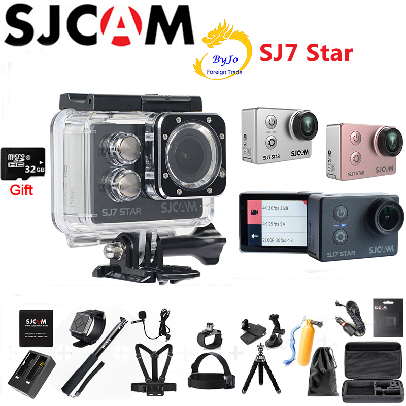 "Originele SJCAM SJ7 Star 4 K Sport Camera Ambarella A12S75 DV HD 2 ""Touchscreen WIFI Afstandsbediening 30 m Waterdichte camera 32G sd-kaart gift"