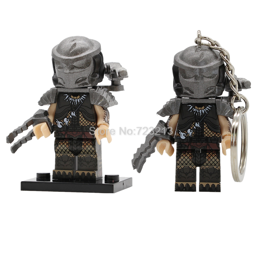 Single Sale Predator Figure Keychain Movie Keyring Building Blocks Set Model Kits Bricks Educational Toy for Children PG1127 predator
