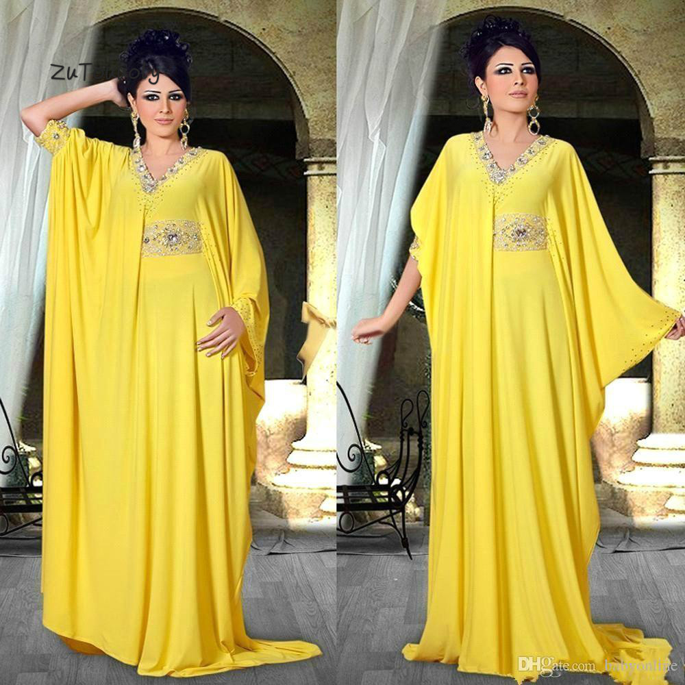 Arabic Abaya Yellow Evening Dress With Sleeves Dubai Middle East V Neck Crystal Plus Size Islamic Muslim Formal Dresses Evening