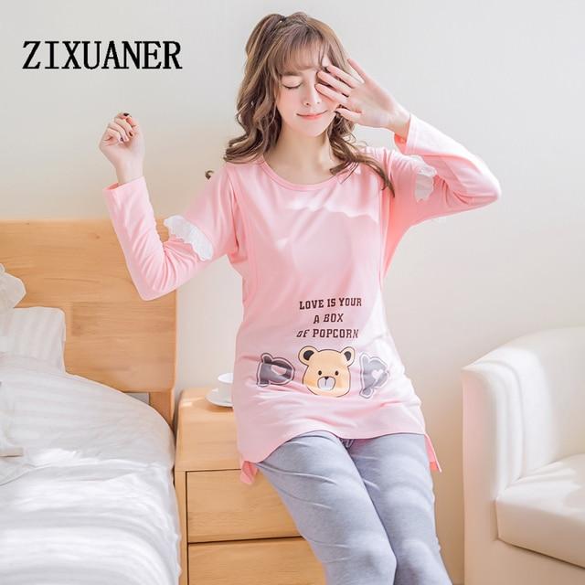 2b2957b77 Pijamas De Maternidad para prgenant ZIXUANER mujeres ropa de Dormir de  Algodón De Enfermería Lactancia Ropa