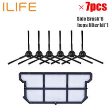 7pcs/set ilife v7 robot Vacuum Cleaner Parts kit (hepa filter kit+Side Brush*6) Chuwi ILIFE v7(China)