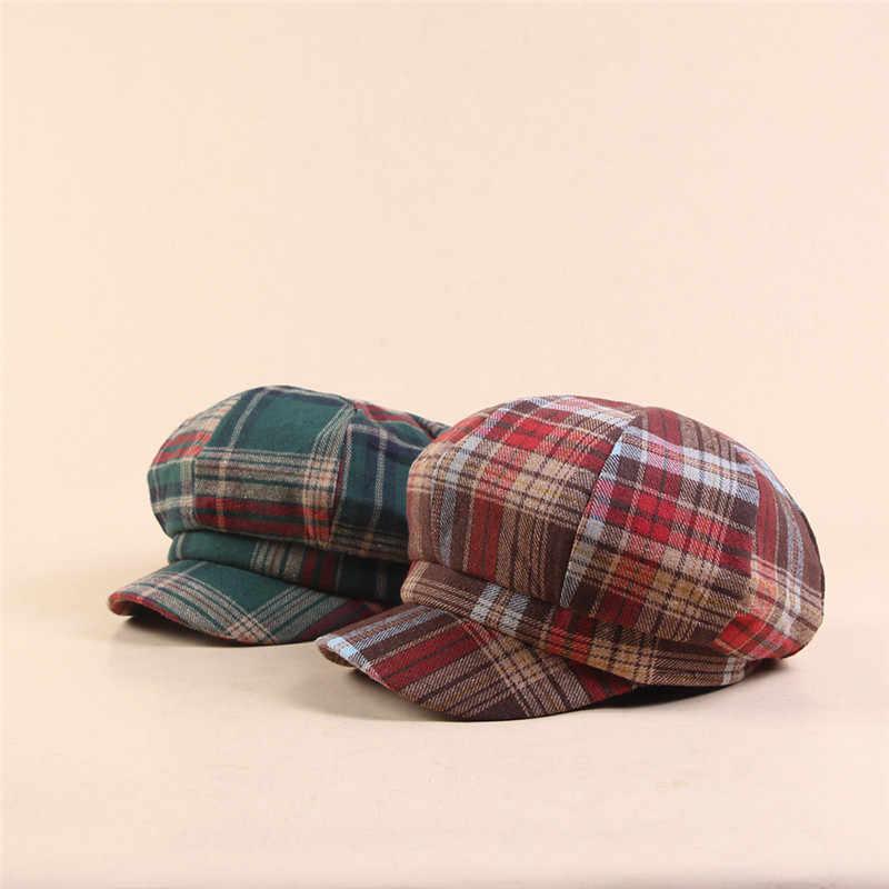 2019 шерсть женский берет осень зима восьмиугольная кепка шляпы Плед толстый теплый маляр газетчик Французский Берет плоская кепка s армейские кепки