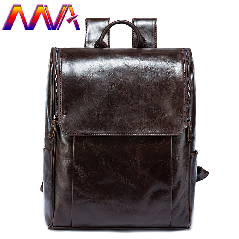 MVA Hot sale genuine leather men backpack for fashion women leather backpack and student school backpack bag mens backpacks pabojoe women mens school backpack italian 100
