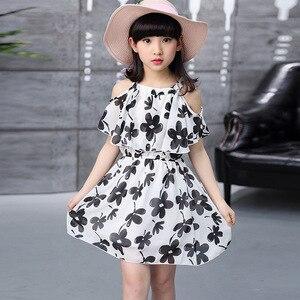 Милое платье с цветочным рисунком для девочек, новое летнее стильное детское платье принцессы с открытыми плечами, а-силуэта, тонкая детская одежда для вечеринок для маленьких подростков
