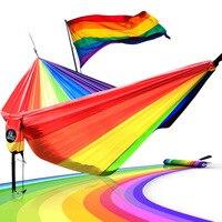 Hammock Length 300cm Width 200cm Double Person Use LGBT 6 Color Rainbow Hammocks