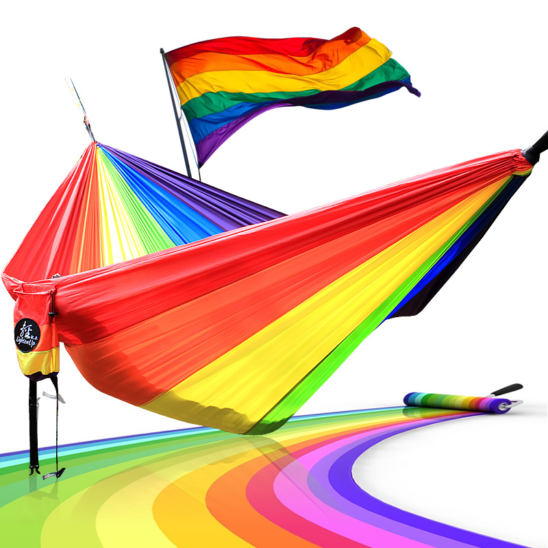 Hammock Length 300cm width 200cm Double Person Use LGBT 6 Color Rainbow Hammocks 300cm 200cm about 10ft 6 5ft fundo coco coastal skyline3d baby photography backdrop background lk 1896