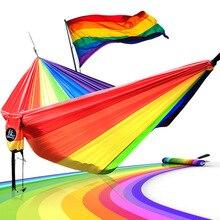 Longitud 300 cm ancho 200 cm hamaca Hamacas Doble Uso Persona LGBT 6 Color Del Arco Iris