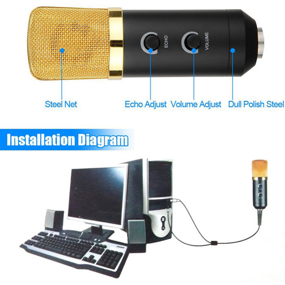 Usb Microphone Wired Reverberation For Computer Network Mic Wiring Diagram Sing Recording Video Conference Games Microfone Condensador In Microphones From Consumer