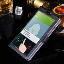 5 Colors With View Window Case For Sony Xperia M4 Aqua E2303 E2333 E235 Luxury Transparent Flip Cover M 4 Phone