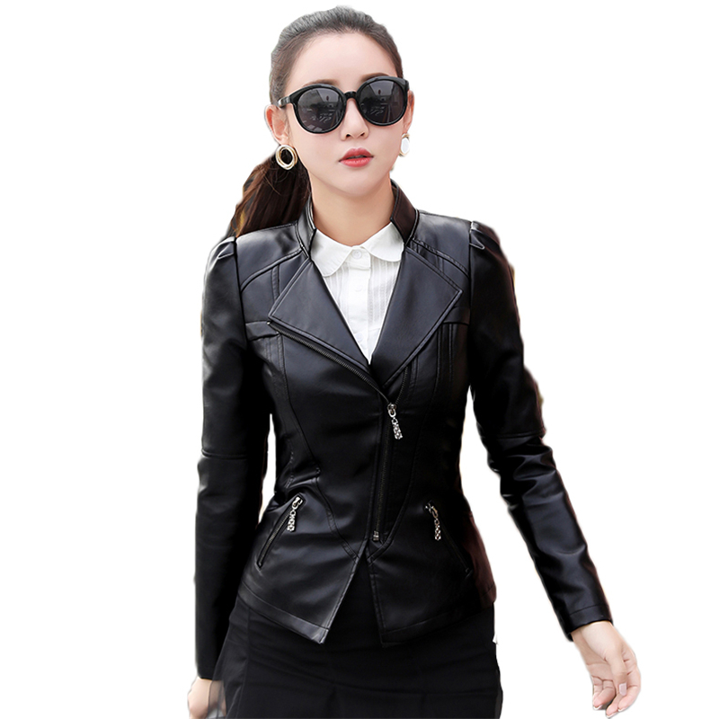 Winter Jacket Big Size Slim Women's Costumes Locomotive style Short Leather   Coat   Turn-  down   Collar Large Size Outerwear XS-6XL452