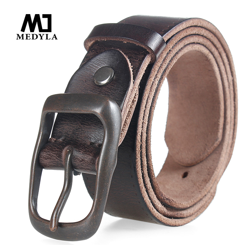 MEDYLA Original Cowhide Genuine Leather Belt For Men Strap Male Pin Buckle Vintage  Cowboy Casual Designer Brand Men Belt