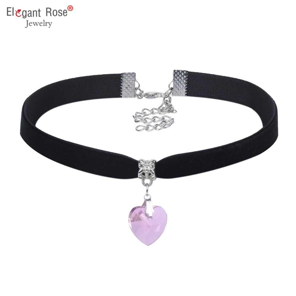 Romantic Cute Pink Heart Crystal Pendants& Necklaces for Ladies Girls Black Velvet Choker Necklace Women Jewelry NR3471