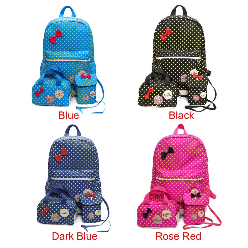 Blue Pcs Multi Puntino Blocco azzurro Grande Bowknot Nero Rfid Fabala Del colore uso Zaino il Sacchetto 3 Scuola Casual Caldo Viaggio Di Rosa Profondo Capacità Bookbags Uwqd8A8