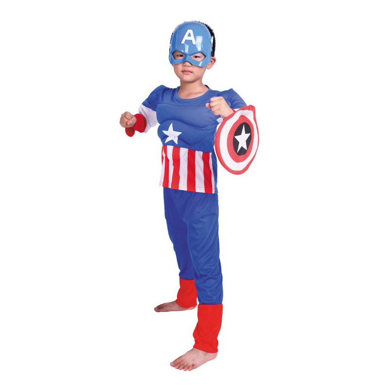 Halloween Cosplay Costumes Kids Boys Captain America Muscle Wear+Shield+Mask Suit Masquerade Party Supplies Gift halloween cosplay mask death bleach kurosaki ichigo cosplay pvc props mask masquerade party mask action figure brinquedos